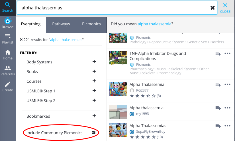 Include Community Picmonics by our creators in your search